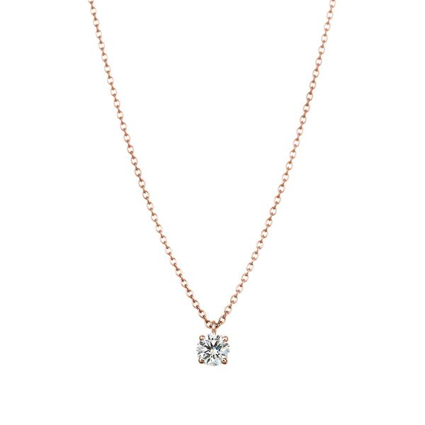 K18PG 4ポイントセッティング ダイヤモンド スルー ペンダント 40cm  0.2ct