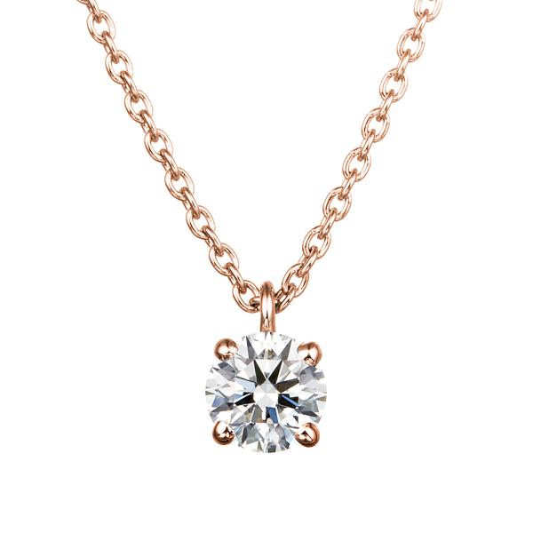 K18PG 4ポイントセッティング ダイヤモンド スルー ペンダント 45cm  0.2ct