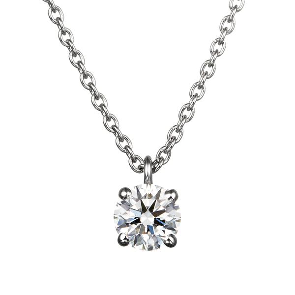 PT900 4ポイントセッティング ダイヤモンド スルー ペンダント 40cm  0.2ct