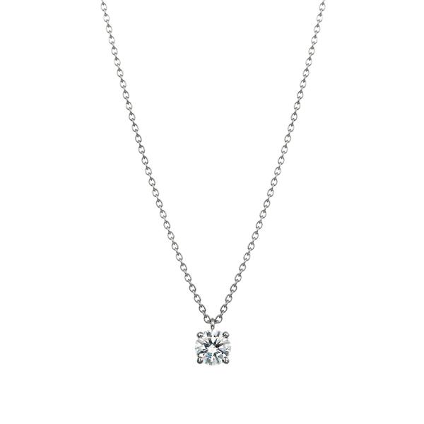 PT900 4ポイントセッティング ダイヤモンド スルー ペンダント 40cm 0.3ct