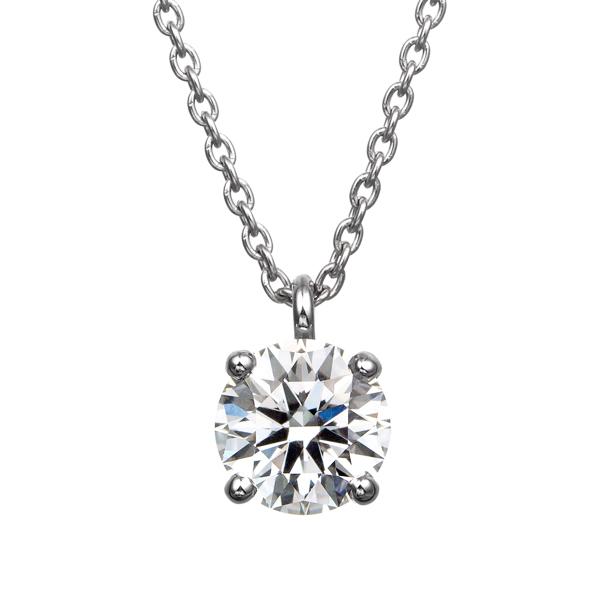 PT900 4ポイントセッティング ダイヤモンド スルー ペンダント 40cm 0.5ct