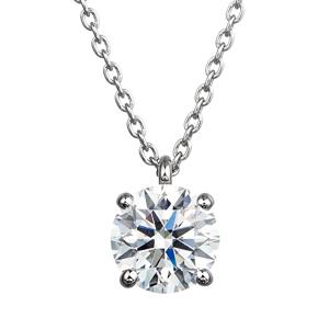 PT900 4ポイントセッティング ダイヤモンド スルー ペンダント 40cm  0.7ct