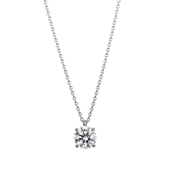 PT900 4ポイントセッティング ダイヤモンド スルー ペンダント 40cm  1.0ct