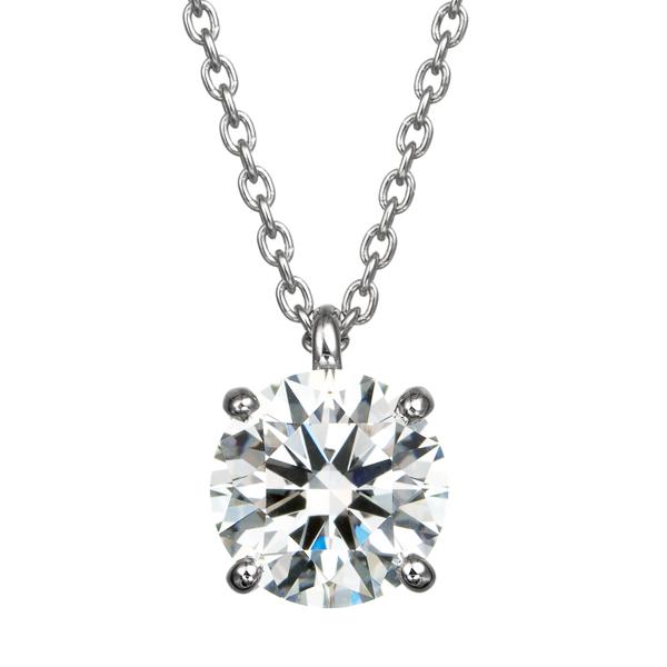 PT900 1.00ct ダイヤモンド 4ポイントセッティング 40cm スルーペンダント