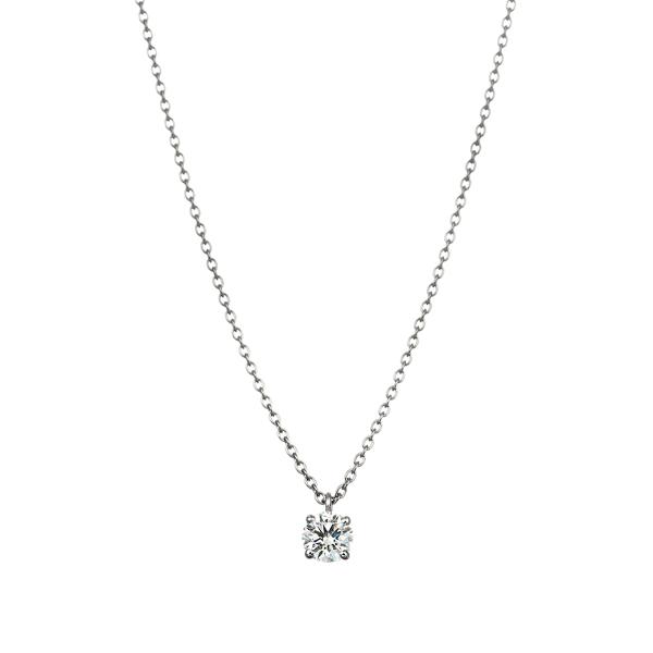 PT900 4ポイントセッティング ダイヤモンド スルー ペンダント 45cm  0.2ct