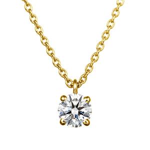 K18YG 0.20ct ダイヤモンド 4ポイントセッティング 40cm スルーペンダント