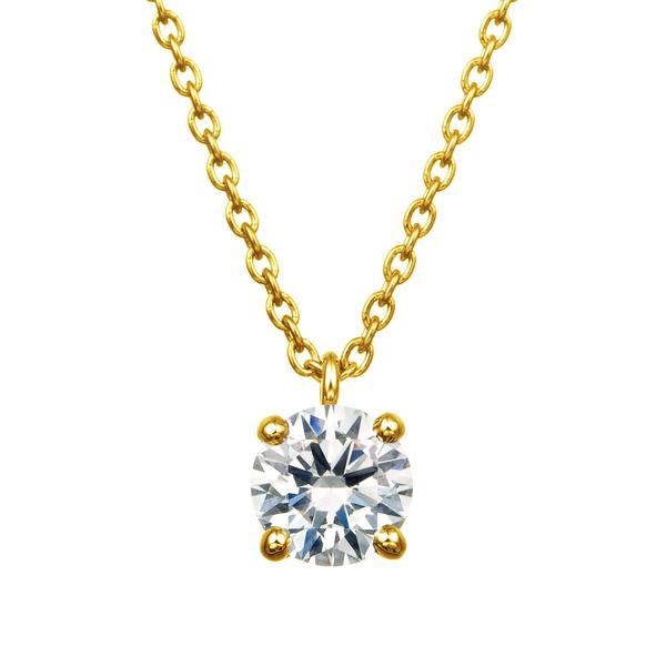 K18YG 4ポイントセッティング ダイヤモンド スルー ペンダント 40cm  0.3ct
