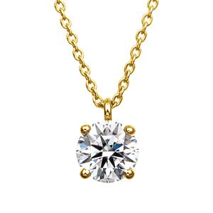 K18YG 4ポイントセッティング ダイヤモンド スルー ペンダント 40cm 0.5ct