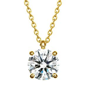K18YG 1.00ct ダイヤモンド 4ポイントセッティング 40cm スルーペンダント