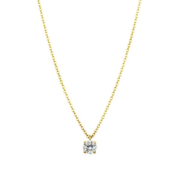 K18YG 4ポイントセッティング ダイヤモンド スルー ペンダント 45cm  0.2ct