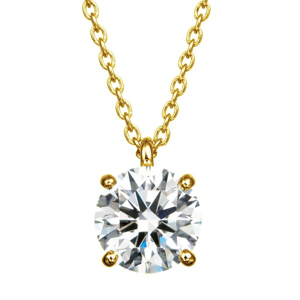 K18YG 4ポイントセッティング ダイヤモンド スルー ペンダント 45cm   1.0ct