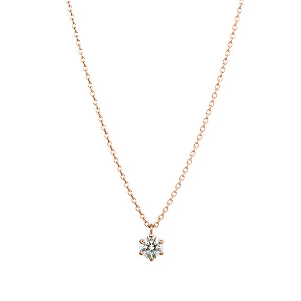 K18PG 6ポイントセッティング ダイヤモンド スルー ペンダント 40cm 0.2ct