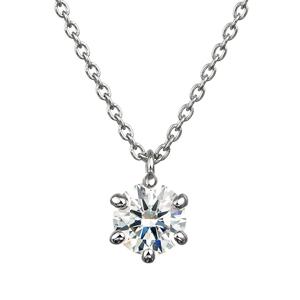 PT900 6ポイントセッティング ダイヤモンド スルー ペンダント 40cm  0.3ct