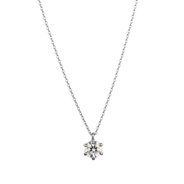 PT900 6ポイントセッティング ダイヤモンド スルー ペンダント 40cm 0.5ct