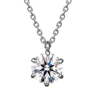PT900 6ポイントセッティング ダイヤモンド スルー ペンダント 40cm 0.7ct