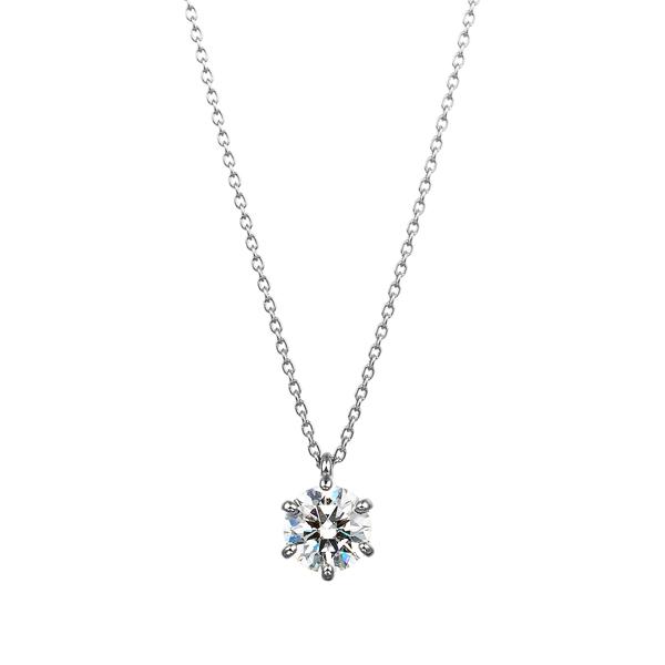 PT900 6ポイントセッティング ダイヤモンド スルー ペンダント 40cm 1.0ct