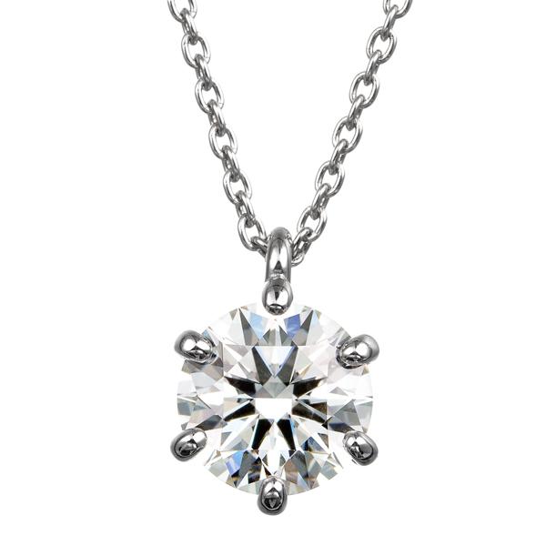 PT900 1.00ct ダイヤモンド 6ポイントセッティング 40cm スルーペンダント