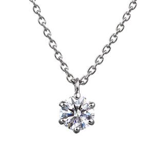 PT900 6ポイントセッティング ダイヤモンド スルー ペンダント 45cm  0.2ct