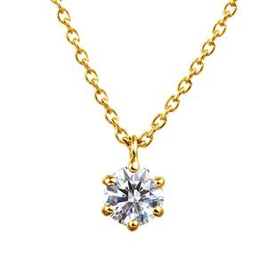 K18YG 6ポイントセッティング ダイヤモンド スルー ペンダント 40cm  0.2ct