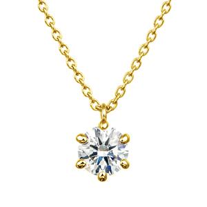 K18YG 6ポイントセッティング ダイヤモンド スルー ペンダント 40cm  0.3ct