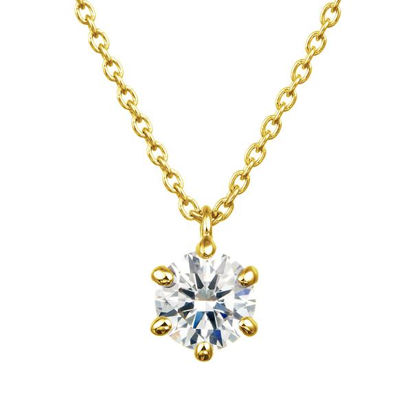 K18YG 0.30ct ダイヤモンド 6ポイントセッティング 40cm スルーペンダント