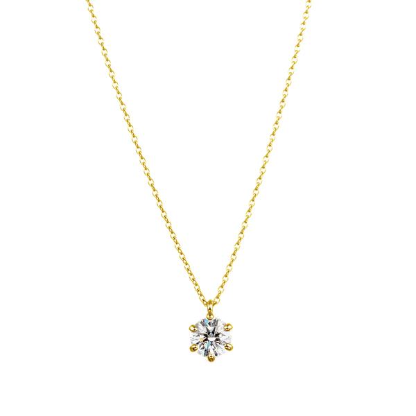 K18YG 6ポイントセッティング ダイヤモンド スルー ペンダント 40cm 0.5ct