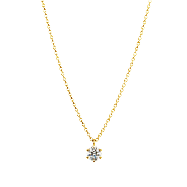 K18YG 6ポイントセッティング ダイヤモンド スルー ペンダント 45cm  0.2ct