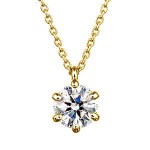 K18YG 6ポイントセッティング ダイヤモンド スルー ペンダント 45cm 0.5ct