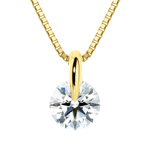 K18YG 1ポイント ダイヤモンド ネックレス 40cm 0.7ct