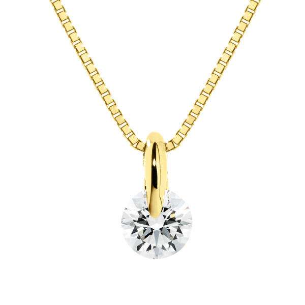 K18YG 1ポイント ダイヤモンド ネックレス 45cm 0.2ct