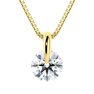 K18YG 1ポイント ダイヤモンド ネックレス 45cm 0.7ct