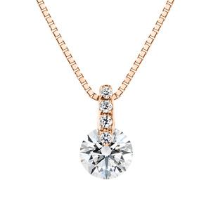 K18PG 1ポイント ダイヤモンド ストレート ネックレス 40cm 0.3ct