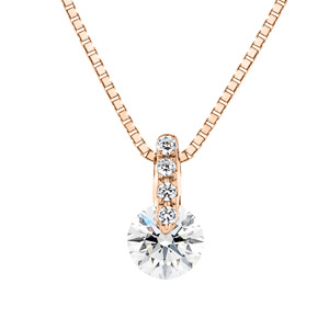 K18PG 1ポイント ダイヤモンド ストレート ネックレス 45cm 0.2ct