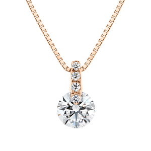 K18PG 1ポイント ダイヤモンド ストレート ネックレス 45cm 0.3ct