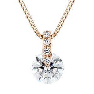 K18PG 1ポイント ダイヤモンド ストレート ネックレス 45cm 0.7ct