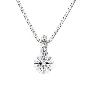 PT900 1ポイント ダイヤモンド ストレート ネックレス   40cm 0.2ct