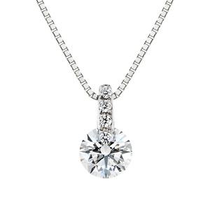 PT900 1ポイント ダイヤモンド ストレート ネックレス 40cm 0.3ct