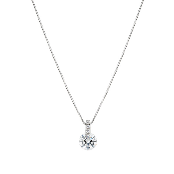 PT900 1ポイント ダイヤモンド ストレート ペンダント 40cm 0.5ct