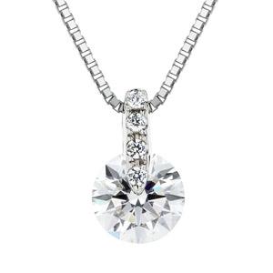 PT900 1ポイント ダイヤモンド ストレート ネックレス 40cm 0.7ct