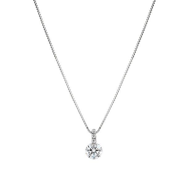 PT900 1ポイント ダイヤモンド ストレート ペンダント 45cm 0.3ct