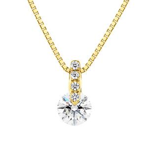 K18YG 1ポイント ダイヤモンド ストレート ネックレス 40cm 0.2ct