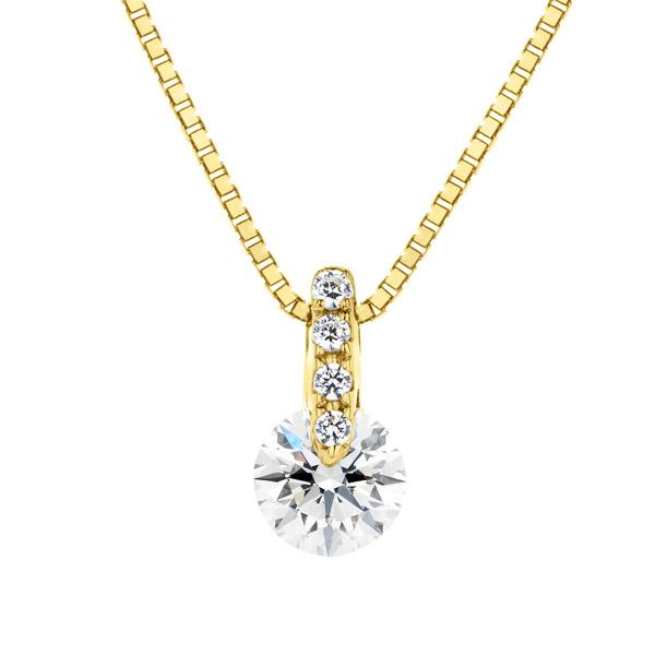 K18YG 1ポイント ダイヤモンド ストレート ペンダント 40cm 0.2ct