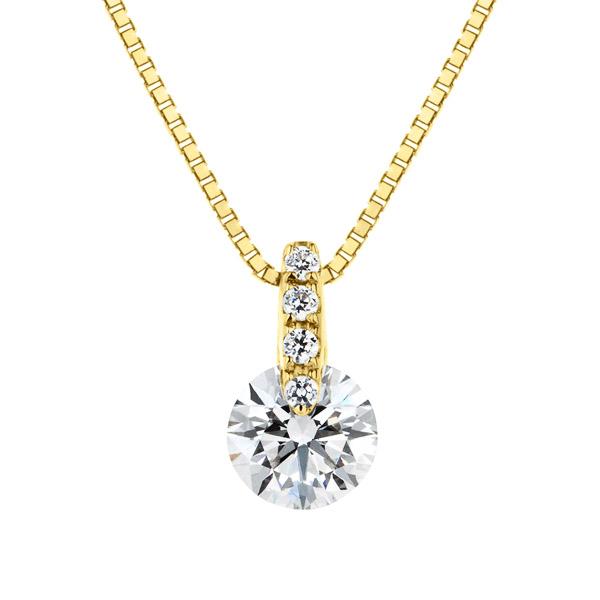 K18YG 1ポイント ダイヤモンド ストレート ペンダント 40cm 0.3ct