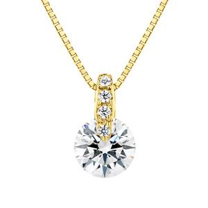 K18YG 1ポイント ダイヤモンド ストレート ペンダント 40cm 0.5ct
