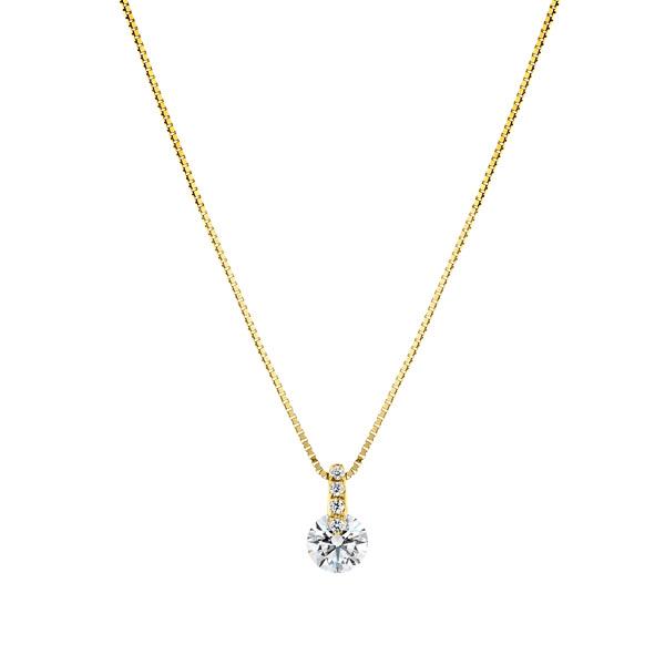 K18YG 1ポイント ダイヤモンド ストレート ペンダント 45cm 0.3ct