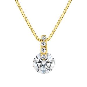 K18YG 1ポイント ダイヤモンド ストレート ネックレス 45cm 0.3ct