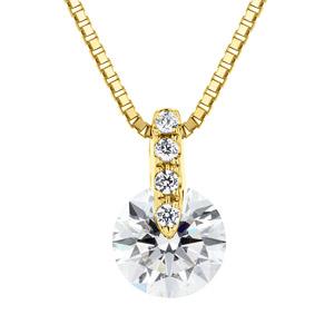 K18YG 1ポイント ダイヤモンド ストレート ペンダント 45cm 0.7ct