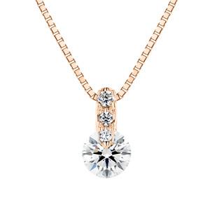 K18PG 1ポイント ダイヤモンド グラデーション ネックレス 40cm 0.2ct