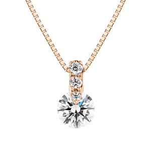 K18PG 1ポイント ダイヤモンド グラデーション ネックレス 40cm 0.3ct