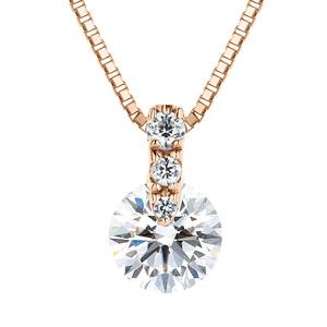 K18PG 1ポイント ダイヤモンド グラデーション ネックレス 40cm 0.7ct